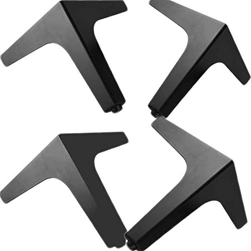 4 stuks Metalen Meubels Benen DIY Vervangbare Tafelpoten TV Kast Slaapbank Badkamermeubel Salontafel Meubels Voeten zwart-17cm