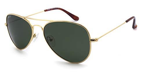 SunCristal Gafas de metal clásicas Cara pequeña Hombres Mujeres Adolescente UV400 Gafas de sol polarizadas (marco dorado + lente verde)