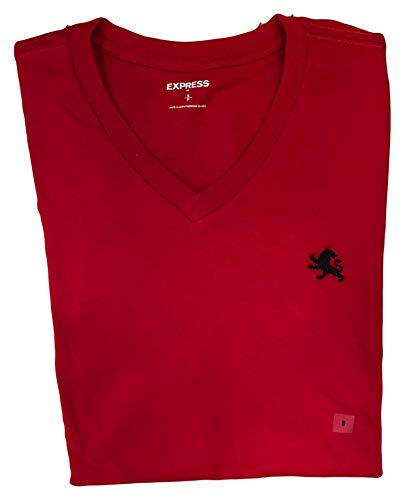 Express Men's Classic Fit V-Neck Small Lion T-Shirt (Large, Red)