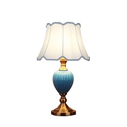 AERVEAL Lámpara de Mesa de Cerámica de Estilo Azul Lámpara de Cabecera de Dormitorio Americano: Adecuada para una Variedad de Estilos de Hogar,Blanco