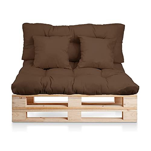 BRAVO HOME Set 4 Coussins pour Canapé Palette Intérieur/Extérieur - Assise 120 x 80 x 10 cm + Dossier 120 x 50 x 10 cm + 2 Coussins carrés -Coussin Comfort pour Sofa Palette Europe (Marron)