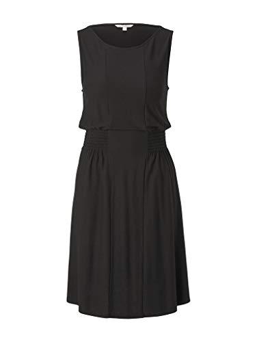 TOM TAILOR Denim Damen Kleider & Jumpsuits Jersey-Minikleid mit Smocking-Detail Deep Black,M,14482,2999