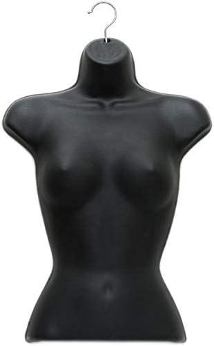 Black Ladies Upper Torso Plastic Mannequin Form