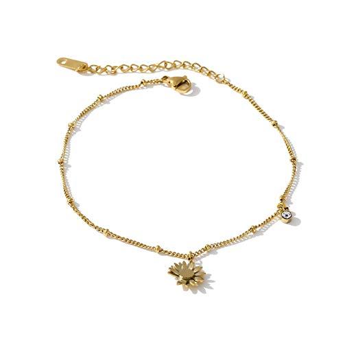 Sencillo y Elegante Pulsera de Oro Joyas de Acero Inoxidable Moda Little Daisy Charm Barefoot Chain Cadena de Verano niña para Regalo de joyería de Mujer (Metal Color : Gold)