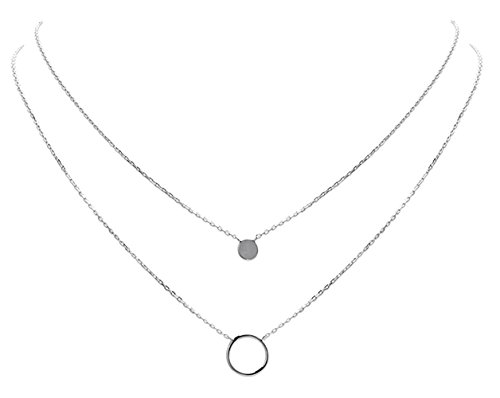 SMERALDO Damen Silber Halskette mehrreihig | Doppelkette mit Kreis und Plättchen | Echtes 925 Sterlingsilber - Länge: 45/40 cm