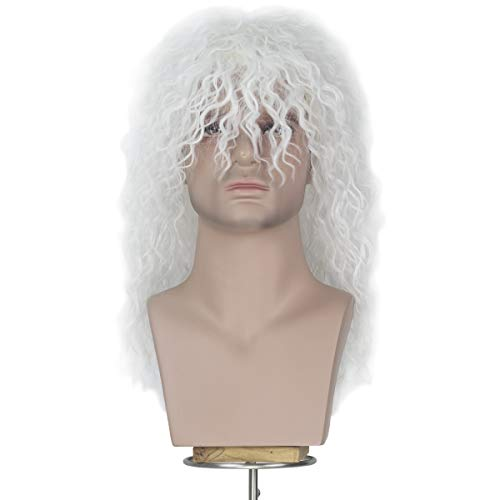 70s 80s Wig for Men, Themed Party Halloween Costume Cosplay Wig Long White Curly Hair Punk Heavy Metal Rocker Wig