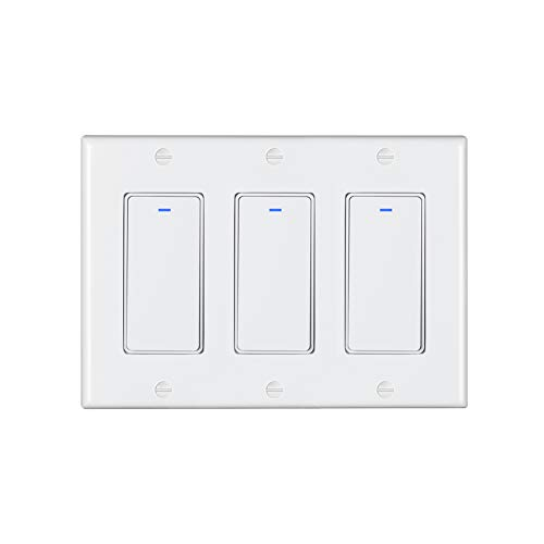Esmlfe Smart Switch 3 Gang(NOT 3-WAY), Push Button Smart WiFi Light Switch Compatible with Alexa, Google Home and IFTTT, with Remote Control and Timer, No Hub Required, Neutral wire is required