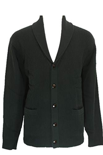 Shephe 4 Ply Men's Cashmere Shawl Collar Cardigan Sweater Dark Green XX-Large