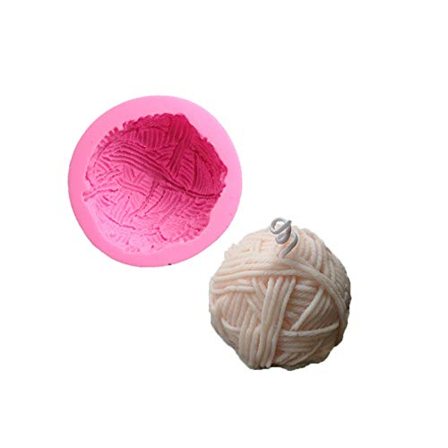 3D Knitting Wool Ball Silicone Candle Mold DIY Fondant Cake Decorating Tools for Soap, Bath Bomb, Plaster, Wax Crayon, Clay