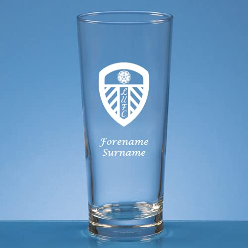 Made Just For You Official Licensed Leeds United FC Crest Straight Sided Beer Glass