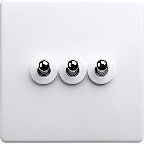 Jqchw 10A 110-250V 1-4 Gang Interruptor de luz de Palanca de 2 vías 86 Interruptor de Palanca intermedio Tipo Pared Interruptor de Panel de Enchufe Retro para Cocina, Dormitorio, Sala de Estar, etc.