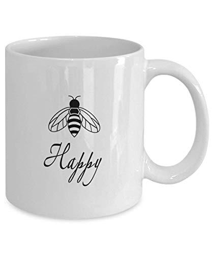 N\A Bee Happy Coffee Mug Gift Miel Abeja Happiness Pun Mug Bee Tazas Tazas Felicidad Gift Be Happy Mug Funny Pun Mug Funny Bee Mug