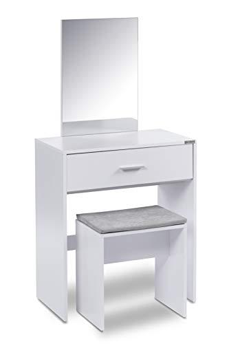 ts-ideen Schminktisch Frisiertisch Frisierkommode Schminkkommode Schlafzimmer Kommode mit Spiegel, Schublade und Hocker in Weiß Modern