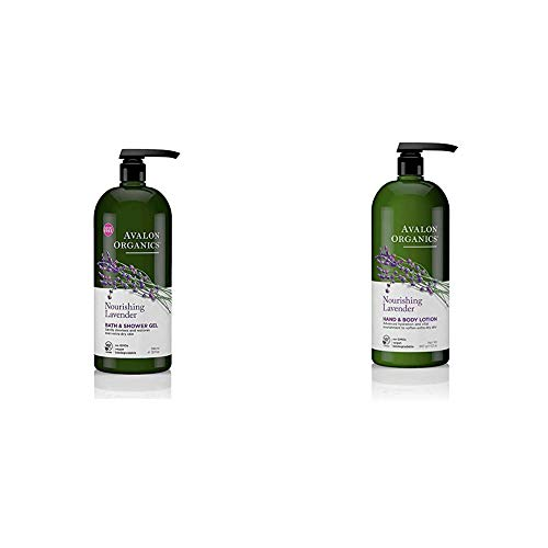 Avalon Organics Nourishing Lavender Body Wash and Shower Gel, 32 oz with Avalon Organics Nourishing Lavender Hand & Body Lotion, 32 oz.