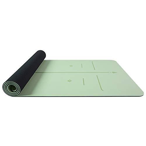pridesong Anfänger Yogamatte rutschfeste TPE Fitnessmatte zweifarbige Haltung Linie Gras grün/schwarz 185 x 68 x 6 cm