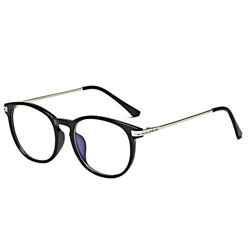 BOZEVON Blaulichtfilter Brille - Anti Blaulicht Brillen Ohne Sehstärke Damen Herren Computer Gaming Brillen Anti Müdigkeit Leicht Brillengestelle mit Etui, Helles Schwarz A