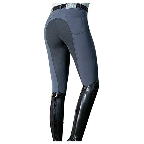 melupa Women's Horse Riding Pants Equestrian Breeches Tights Belt Loops Pockets Knee-Patch High Waist Sports Active Leggings Gray