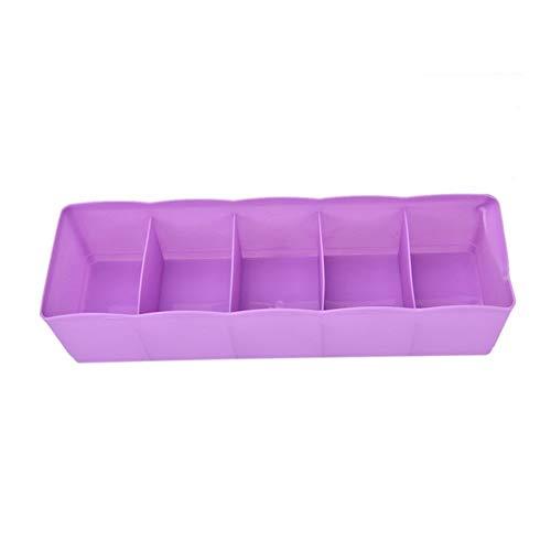 Pliegues Caja de almacenamiento de la ropa interior del armario del envase dispensador sujetador sujetador del calcetín corbata 5 Rejilla multifuncional de escritorio cajón caja de plástico espacio