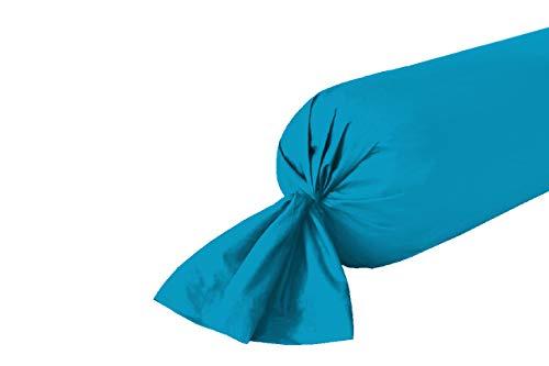 UNIVERS-DECOR Taie de traversin 45 x 185 cm / 100% Coton / 57 Fils/cm² (Turquoise, Taie de traversin 45 x 185 cm)