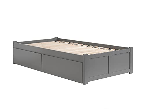 Atlantic Furniture 9 Concord Platform 2 Urban Bed Drawers, Twin XL, Grey
