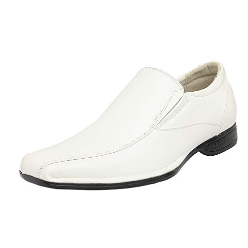 Bruno Marc Men's Giorgio-1 White Leather Lined Dress Loafers Shoes - 6.5 M US
