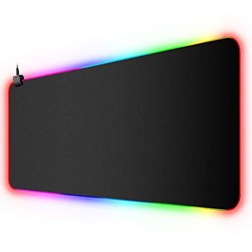 XYK XXL Large Extended RGB Gaming Mouse Pad with 12 Lighting Modes, Non-Slip Rubber Base and Durable Stitched Edges LED Keyboard Mouse Mat for Gaming, Working, Office, 31 5x11.8 in (Black)