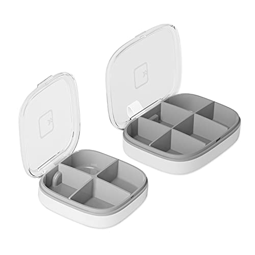 Fyfjur 2 Pcs Pastillero, Portable Organizador de la Medicina, Mini Caja de Píldora, Pastillero Semanal, Pastillero Cuadrado, para Vitamina Aceite Pescado Aspirina (4 Rejillas, 6 Rejillas)