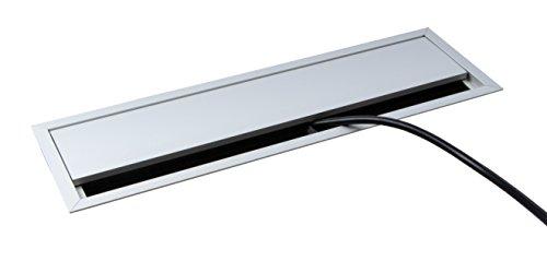 Gedotec Kabeldurchlass Schreibtisch Kabelführung eckig mit Bürstendichtung - ECO | Kabeldose 320 x 100 mm | Kabeldurchgang Aluminium silber eloxiert | 1 Stück - Alu Kabeldose für Tisch & Wand-Montage