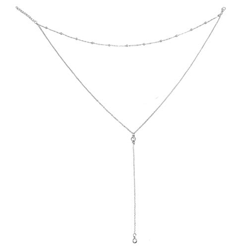 Wowanoo Vintage Double Layer Alloy Crystal Choker Necklace with Long Chain Pendant Silver2