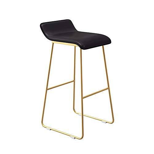 Taburete de bar con cojín de silla de montar negro alto dorado (altura de asiento 65 cm, 25.6 pulgadas), cojín de cuero artificial con estructura de hierro para restaurantes, bares, cafeterías, mostra
