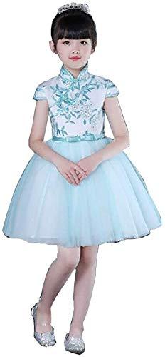 Hcxbb-11 Feestelijke Kostuum-Dans Kostuum Piano Prestatie Chinese Stijl Cheongsam Borduurwerk Bloem Meisje Jurk