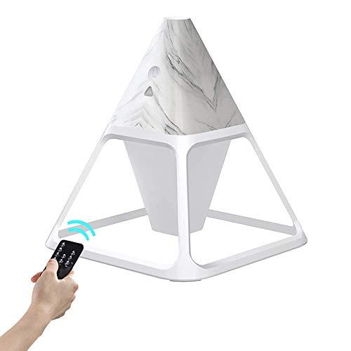 PECHTY Humidificador mini en forma de cono con luz LED de 3 colores, con mando a distancia, 140 ml, depósito de agua visual, 2 modos de pulverización, adecuado para dormitorio, oficina, tipo mármol