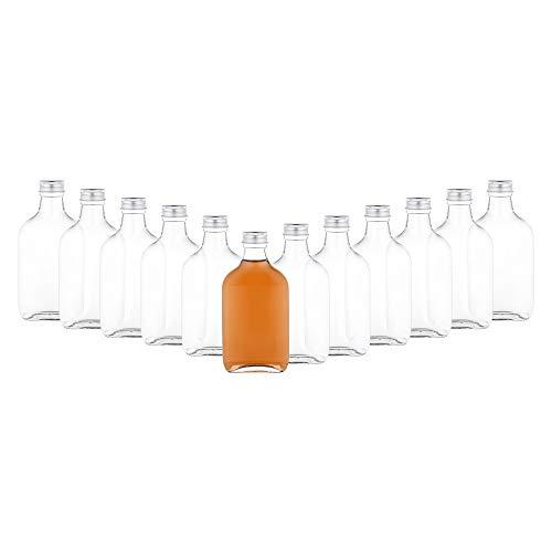 MamboCat 12er Set Taschenflasche 200 ml I Silberne Schraubdeckel I XL-Flachmann I Likörflasche I Schnapsflasche I Fläschchen für Alkohol, Spirituosen, Essig & Öl