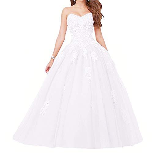 Vantexi Damen Spitze Tüll A-Linie Ballkleid Lang Abendkleider Brautkleider Quinceanera Kleider Weiß Größe 42
