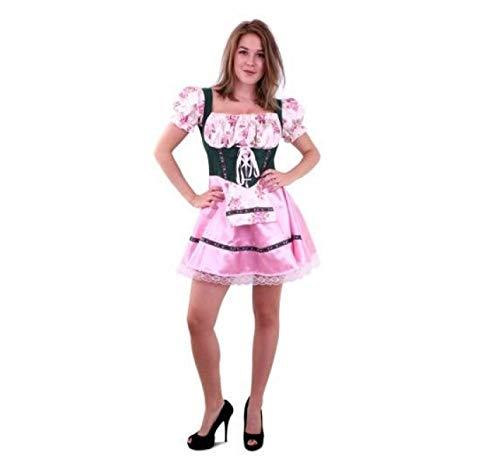 Kostuum - Jurk - Tiroler - Groen & roze - Met bloemen - S/M