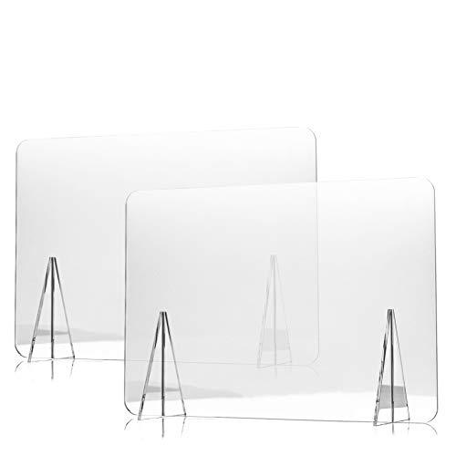 Mampara Protectora de Metacrilato para Mostrador, Mesa y Escritorio de Tienda, Oficina y Colegio - Pantalla Transparente de 100 x 80 cm/Grosor de 5 mm - Pack de 2uds
