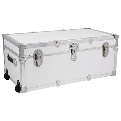 Seward Trunk Footlocker Trunk with Nickel Trim, White, 30-Inch (SWD7130-00)