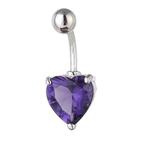 GSZPXF 1pc Sexy Colgando del Ombligo Anillos Ombligo del Vientre Piercing Cristal Joyas Acero quirúrgico Mujer Cuerpo Barra Accesorios Mujer (Color : Purple)
