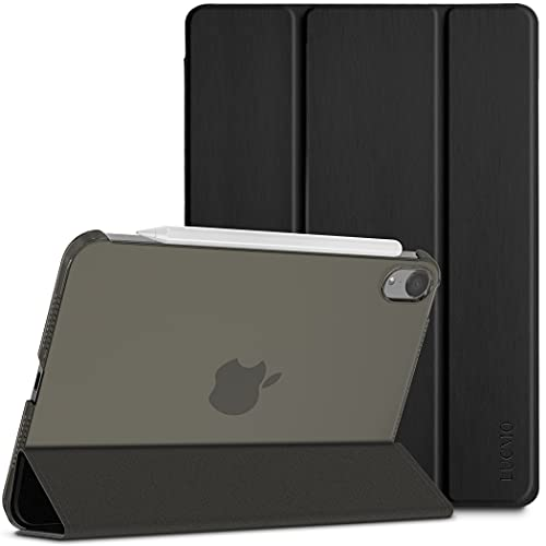 LUCMO Funda Compatible con iPad mini 6 2021 6nd Generación 8.3 Pulgadas A2568, Case Ultra Slim Carcasa Smart Cover PU Protector con Función Soporte Auto-Sueño Estela, Negro