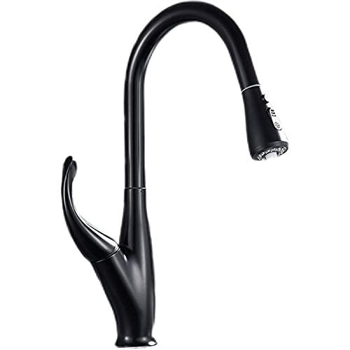 Grifo de cocina negro, extraíble, mezclador de cocina de baño, grifo de agua fría y caliente, manija única, espray de corriente, boquilla de cocina