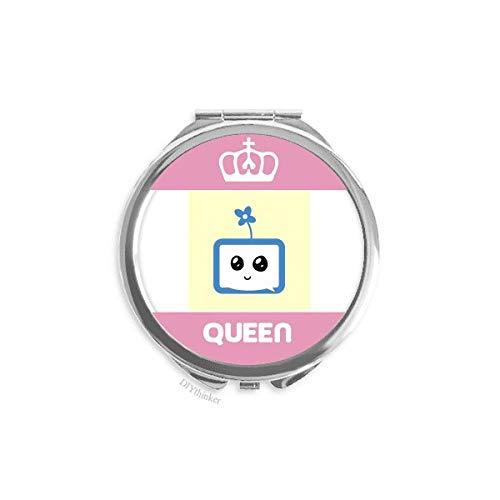 offbbClover Smile Small TV Face Cartoon Mini Double-Sided Portable Makeup Mirror Queen