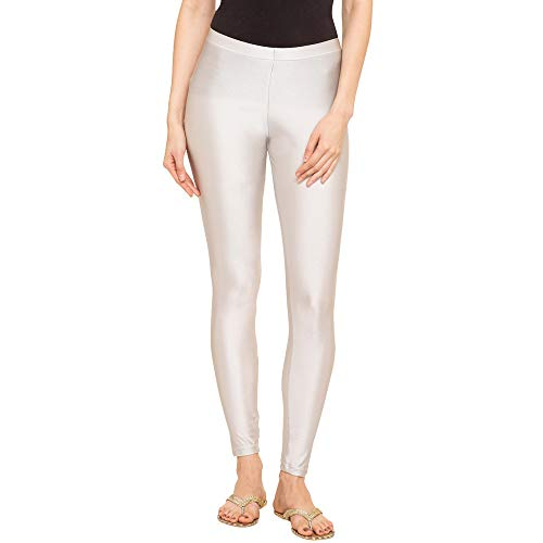 GO COLORS Women's Legging Fit : Skinny Bottom (LL02-SILVER115-XL_Silver_X-Large)