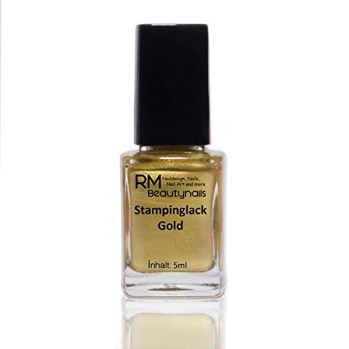 Stampinglack Gold 4ml Stamping Lack Nagellack Nail Polish RM Beautynails