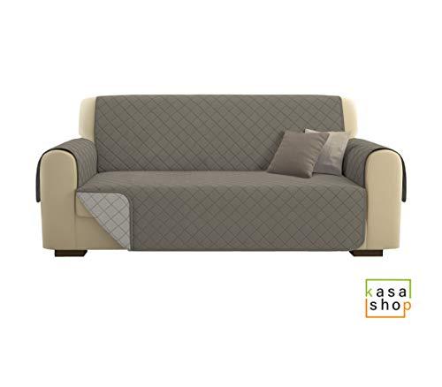 KasaShop - Funda de sofá de lujo, acolchada, reversible, reversible, color beige, sofá de 3 plazas