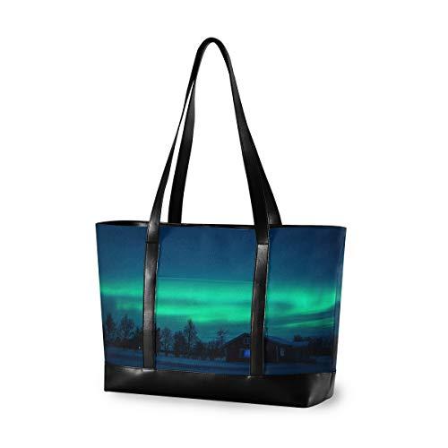 CPYang Laptop-Tasche 39,6 cm (15,6 Zoll) Aurora Polaris Forest Canvas Schultertasche Große Handtasche Frauen Computer Tote Tasche für Arbeit Business Schule Reisen
