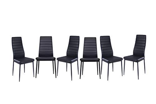 EBS My Furniture Set Sala da Pranzo Tavolo da Pranzo in Vetro Temperato Lucido con Gambe in Metallo e Sedie da Pranzo di Moda Ecopelle (Nero| 6 sedie)
