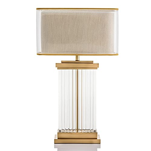 OMING Table Lamps Table Lamp Glass Rod Modern Minimalist Bedroom Bedside Lamp Creative Fashion Double-layer Fabric Lampshade Living Room Decorative Lamp Crystal Table Lamp