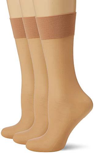 Pretty Polly Damen 8d Knee Highs 2pp Kniestrümpfe, 7, Beige (Sskd Slightly Sunkissed), One Size (Herstellergröße: OS) (3er Pack)