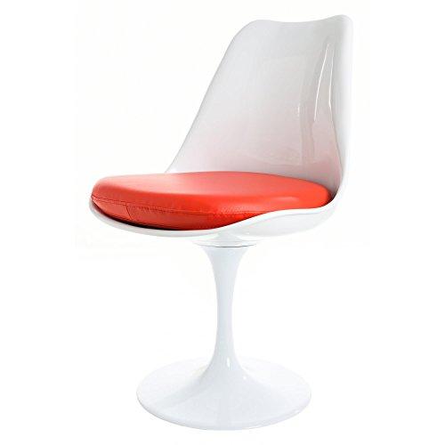 Eero Saarinen Blanco Y Rojo PU Tulip Estilo Silla