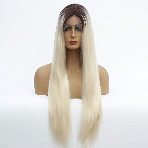 Hairpieces Lace Front Perruque Longue Ligne Droite Cheveux Naturel Soyeux Résistant À La Chaleur Fibre Synthétique avec Partition Gradient Mélange Couleur pour dames Daily Cosplay Halloween Party 16in